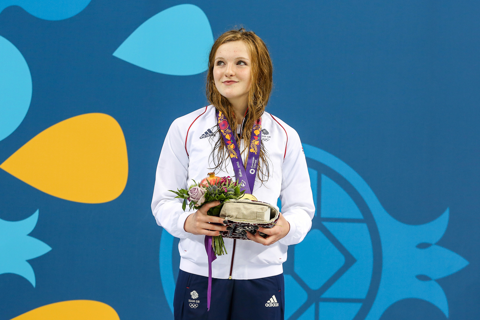 Abbie Wood gold medal European Games on podium