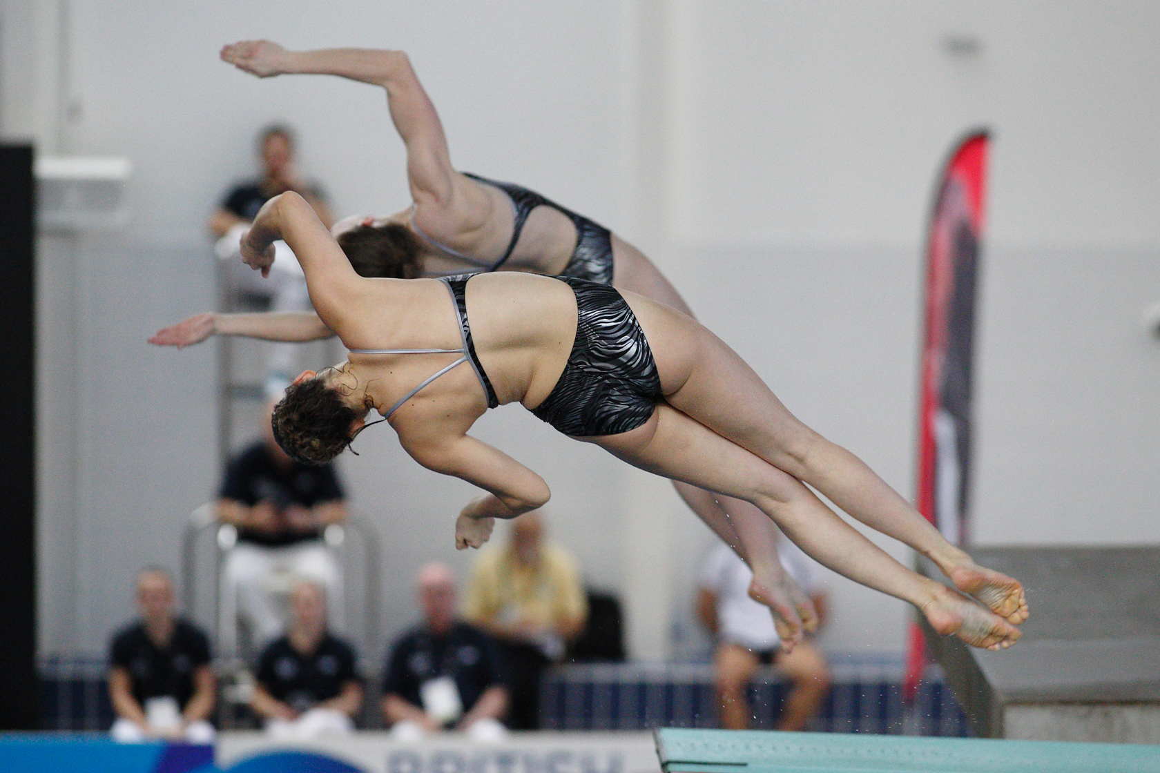 Millie Fowler and Millie Haffety diving